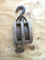 Antique Barn Wooden Double Block and Tackle With large Hook -Mancave - Steampunk