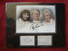 MANCHESTER UNITED GEORGE BEST * BOBBY CHARLTON* DENIS LAW SIGNED MOUNTED DISPLAY