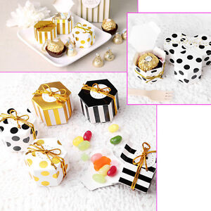 10/50/100pcs Mini Cute Hexagon Sweet Candy Boxes Wedding Favour Bags Party Gift
