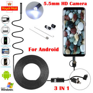 USB Type C Endoscope Borescope Inspection Tube HD Camera For Android Phone 5.5mm