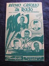 Partition Ritmo Criollo de J. Matero Al Rajo de P et E. Cavagnolo  tango 1959