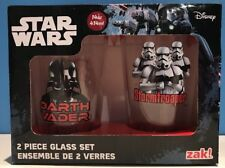 Star Wars 2 Piece 14 oz Glass Tumbler Set Darth Vader Storm Trooper Zak Disney