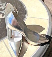 "Sergio Rossi Ladies Metallic Silver Classic Pumps US7 Heel height 4.25"""
