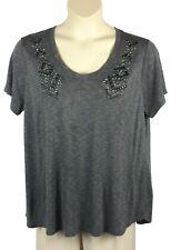 Womens Cato Knit Top Plus Size 22/24W Gray Mini Stripe Pattern and Beading