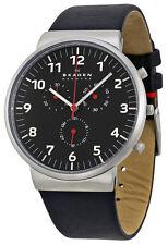Skagen SKW6100 Ancher Black Dial Black Leather Strap Chronograph Men's Watch