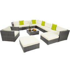 XXL Lusso in alluminio rattan mobili da giardino Divano impostato tavolo da esterno in vimini Grigio