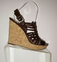 Enzo Angiolini Brown Leather Platform Wedges Sandals Cork Heels Womens 8.5 EUC