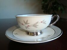 Syracuse china Harmony Coffee Cup & Saucer Set, Platinum Trim made in USA Mint
