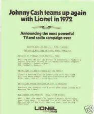 1972 LIONEL  JOHNNY CASH TEAMS UP AGAIN W/LIONEL FLYER MINT