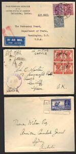 INDIA 1930's 3 FOREIGN SERVICE CVR AM. CONSULATE NEW DELHI TO SYDNEY AUSTRALIA,