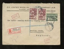 FINLAND 1947 O.Y UNITED SHOE ENVELOPE REGIST.to GB