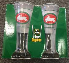 OFFICIAL LICENSED NRL SOUTH SYDNEY RABBITOHS SET OF 2 BEER GLASSES - GIFT IDEA