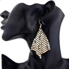 Stunning Long Gold Glomesh Glo Mesh Hook Dangle Party Fashion Statement Earrings