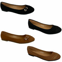 Ladies Slip On Ballerina Pumps Womens Shoes Leather Patent Look Flat Diamante