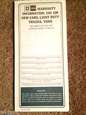 1980 Corvette Owner Protection Plan New Vehicle Warranty Brochure Blank Canada