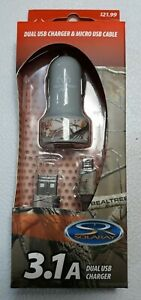 Dual USB Charger and USB Cable 3.1A Solaray Realtree Camo