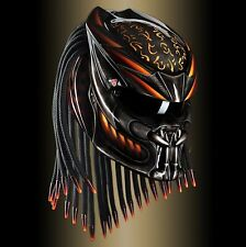 PREDATOR HELMET CUSTOM BLACK ORANGE LINE (approved DOT) SIZE S-M-L-XL-XXL