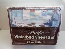 UNIQUE VTG NEW KING WATERBED SHEET SET WITH BOAT HARBOR SCENE NIP BLUES 216