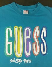 Vintage Mens 1990 GUESS by Georges Marciano in New York - Paris Teal T-Shirt