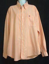 Men's Tommy Hilfiger Long Sleeve Button Down Shirt Peach & Blue Striped XL
