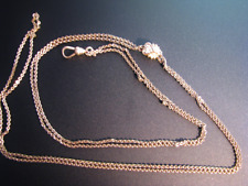 a 10k Gold Slide with Seed Pearls c467 Vintage Gold Filled Watch Chain with
