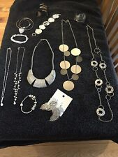 JOB LOT OF SILVER COSTUME JEWELLERY