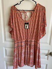 Womens Short Sleeve Shirt L/XL Orange Patterned Cinched Waist