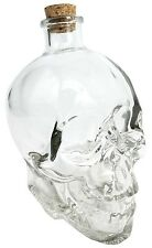 """5""""h Human Skull Glass Liquor Beverage Corked Decanter Skeleton Collectible Decor"""