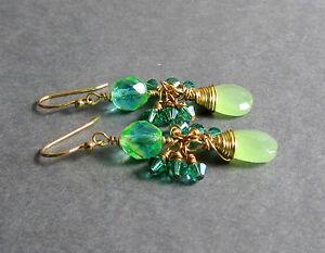 GREEN Glass Briolette & Yellow GOLD PLATED Earrings Cluster Dangle Handmade