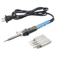 60W Temperatura Ajustable Desoldadora Vacío Soldador Hierro Soldadura Tool 5 Tip