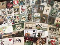 50 Holiday Greetings Postcards~Easter~Valentines~Xmas~Santa Lot-in Sleeves-h313