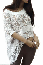 Lace Crew Neck 3/4 Sleeve Casual Tops & Shirts for Women