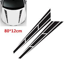 2Pcs Sport Racing Car Hood Stripe Vinyl Stickers Cover Decals Bonnet Decor Black