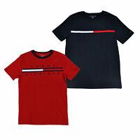 Tommy Hilfiger Boys T-Shirt Graphic Big Logo Tee Short Sleeve Crew Neck L Xl New