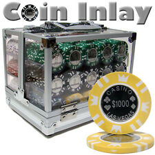 New 600 Coin Inlay 15g Clay Poker Chips Set with Acrylic Case - Pick Chips!