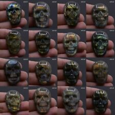 "36-37mm Carved natural stone labradorite skull cab cabochon ""each one picture"""