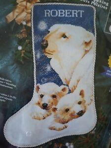 Vtg Janlynn Polar Bear Cubs Mom Christmas CCS Stocking Kit 13-247 Reinardy '98