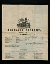 """1856 CORTLAND ACADEMY Illustrated Flyer for the Institute w/blk """"HOMER NY PAID"""""""