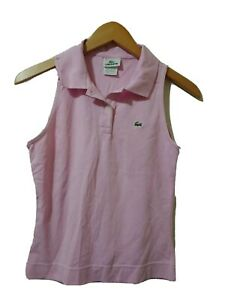 Lacoste Sleeveless Polo Shirt Womens Size 38 Pink Top Collared Embroidered Logo