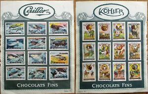 Chocolate Kohler & Cailler 1920 Tobacco Card Sheet-Whale/Dolphin/Domestic Animal