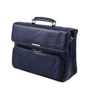 Dionigi Navy Blue Soft Leather Briefcase with Shoulder Strap NWT Bag