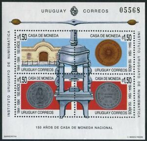Uruguay 1550,1550a,MNH.Mi 2062-2065 Bl.65. Portions of old coin press,1994.Coins