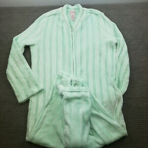Woman's Secret Treasures Velour Full Zip Housecoat Robe 8/10 Old Fashioned Mint