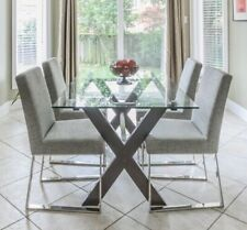 Rectangle Glass Dining Table (Walnut)