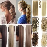 US 100% Real New Clip In as human Hair Extension Pony Tail Wrap Around Ponytail