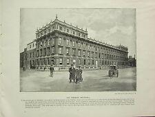 1896 VICTORIAN LONDON PRINT + TEXT ~ THE TREASURY WHITEHALL