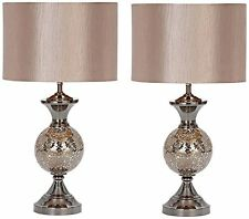 Aspire Hettie Table Lamp Pair, Silver 40138 New