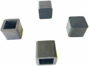 """(4) 1"""" I.D x 1-1/4 Ht Square Rubber Caps/Feet Tips for Chairs,Stools,Table Legs"""