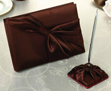 Brown Satin Sash Wedding Guest Book And Pen Set