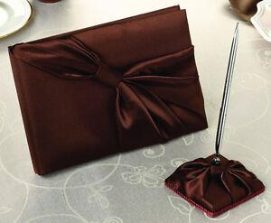 Brown Satin Sash Wedding Guest Book And Pen Set